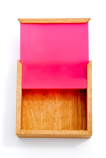 Square Color Chip Box, hand-crafted in Copenhagen out of colored plexiglass and Danish wood from Leifshop.com