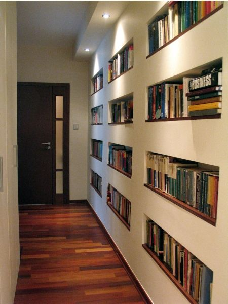 Recessed shelves with veneered bottom shelf