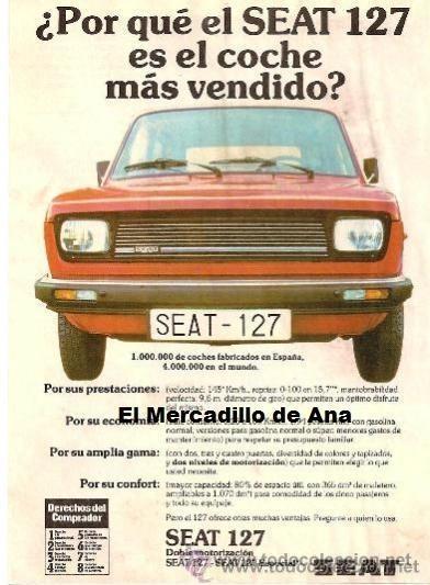 SEAT 127 MOTOR PUBLICIDAD ANUNCIO CARTEL PEQUEÑO