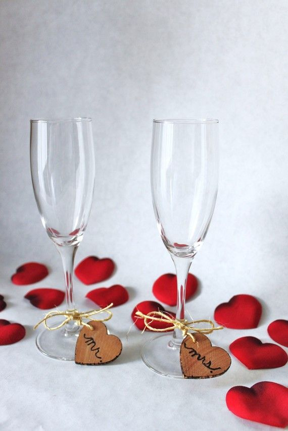 mr. and mrs. Rustic Wedding Wine Glass Charms