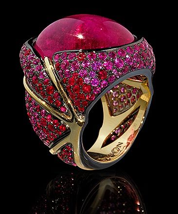 Mousson Atelier, collection New Age - Caterpillar, Yellow gold 750, Pink tourmaline 23,33 ct., Rubies, Pink sapphires