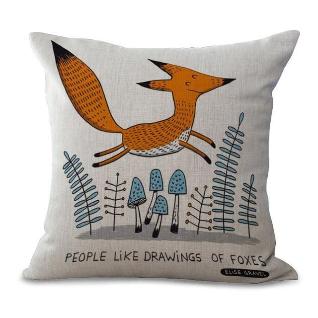 Animal Cotton Embrace Pillow Case Fox Bay Window Bedroom By Pillow Case Office Chair Cushion