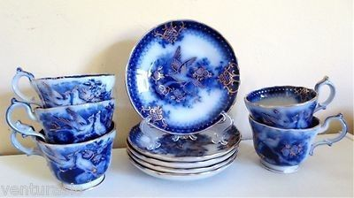 Villeroy & Boch VB India Flow Blue - 5 each footed cups & saucers - 1860s - Rare | #470701034