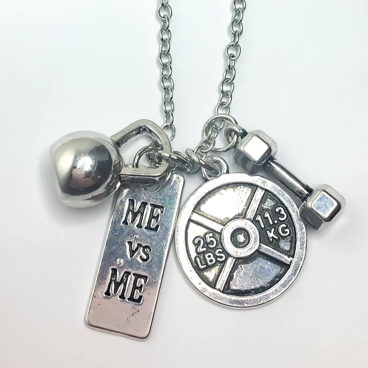 Me vs Me, 25lbs Weight Plate, Dumbbell, Kettlebell, Fitness Necklace, Fitness Jewelry, Workout, Gym, Gift Ideas, Fitness  Charms, Weights, by MissFitBoutiqueCA on Etsy https://www.etsy.com/ca/listing/561631259/me-vs-me-25lbs-weight-plate-dumbbell