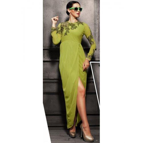 Krishriyaa Fashions Green Georgette Dhoti Kurti