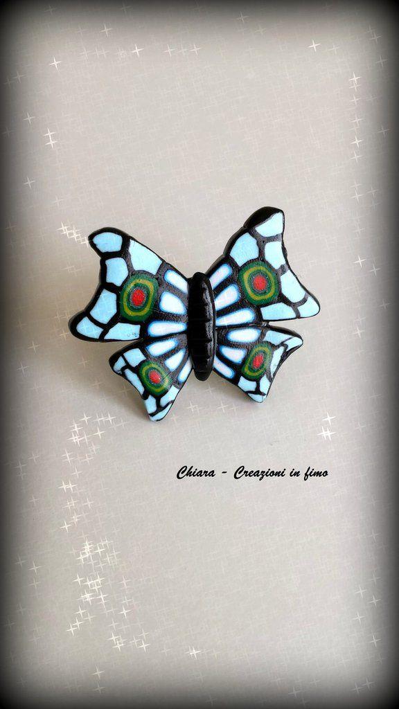 Anello in #fimo fatto a mano con farfalla di murrine, by Chiara - Creazioni in fimo, 13,00 € su misshobby.com