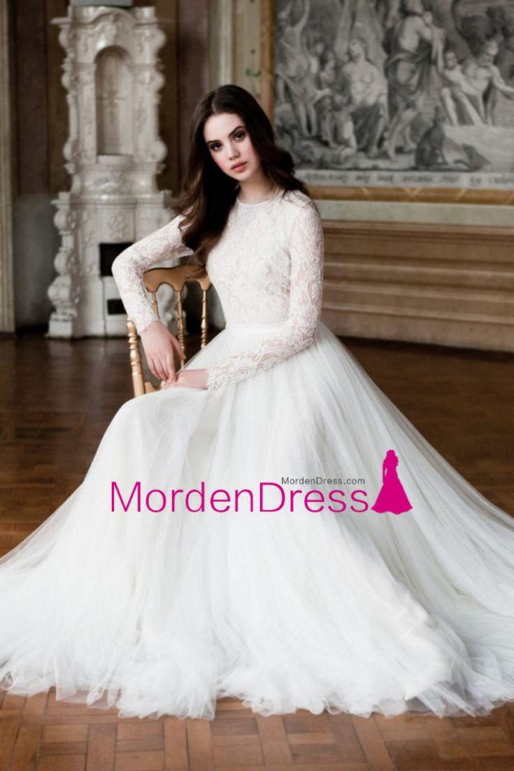 2016 Long Sleeves Wedding Dresses Scoop A Line Tulle