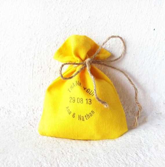 Favor bags Hand stamped yellow sunflower text SET by bohemedecor