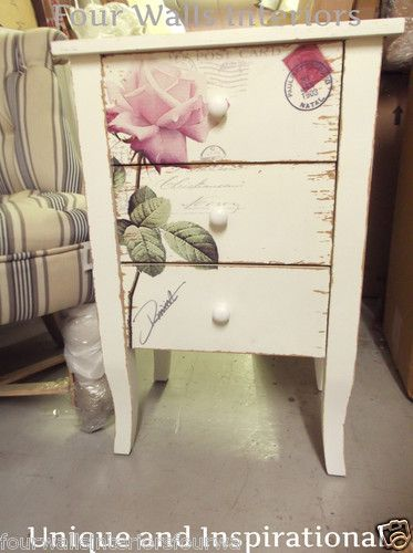 White Shabby Chic Vintage Pink Rose Bedside Chest