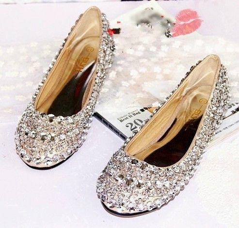 2013 rhinestone beaded genuine leather flat bottom single shoes crystal  female wedding shoes princess bridal shoes