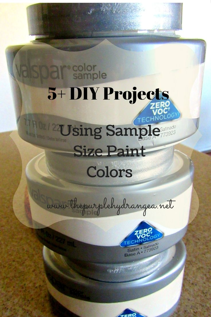 Five great DIY projects using sample paint colors. You will be amazed by how many things you can makeover using only 8 ounces of paint.