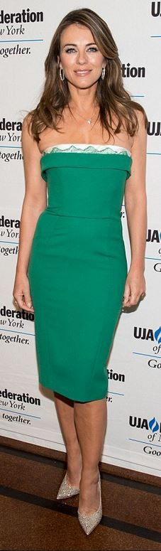 Who made Elizabeth Hurley's green strapless dress?