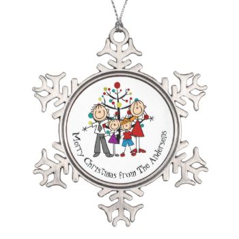 Pretty snowflake shaped ornament features a stick figure mom and dad with a little boy and girl in front of the holiday tree. You can easily change the family to a photo of your own, and you can also personalize it with your names or other text message. #family #christmas #holiday #customized #personalized #parents #family #of #four #mom #dad #boy #girl #stick #figures #stick #people #keepsake #xmas #man #and #lady #cute