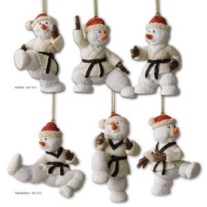 Snowman TKD Christmas Ornament Sets