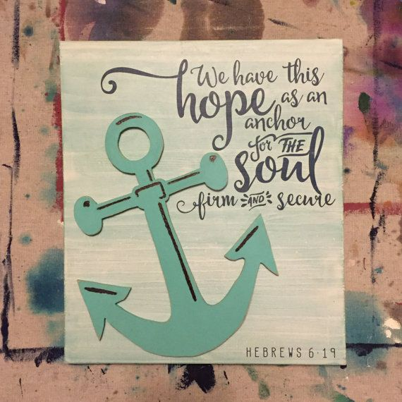 Hebrews 6:19 custom handmade wooden sign with anchor cutout. By GrainyDays Designs, for sale on Etsy :)
