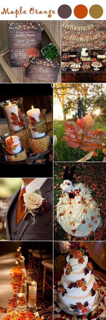 burnt orange maple leave fall wedding ideas and wedding colors