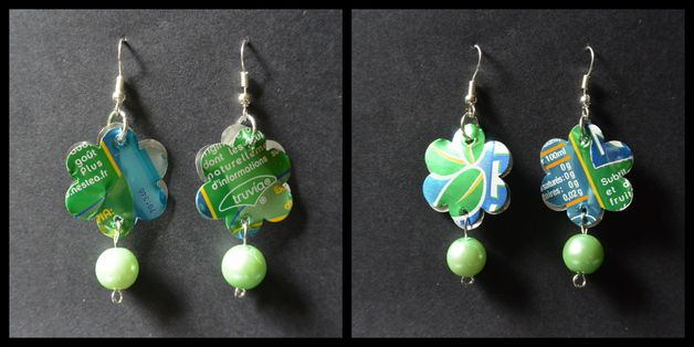 Pendentifs d'oreilles, boucle d'oreille soda verte est une création orginale de memtis sur DaWanda