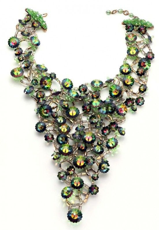 Green and Purple Cosmic Crystal Beaded Menagerie Bib Necklace, ca.1964. Free-form netting and margaritas