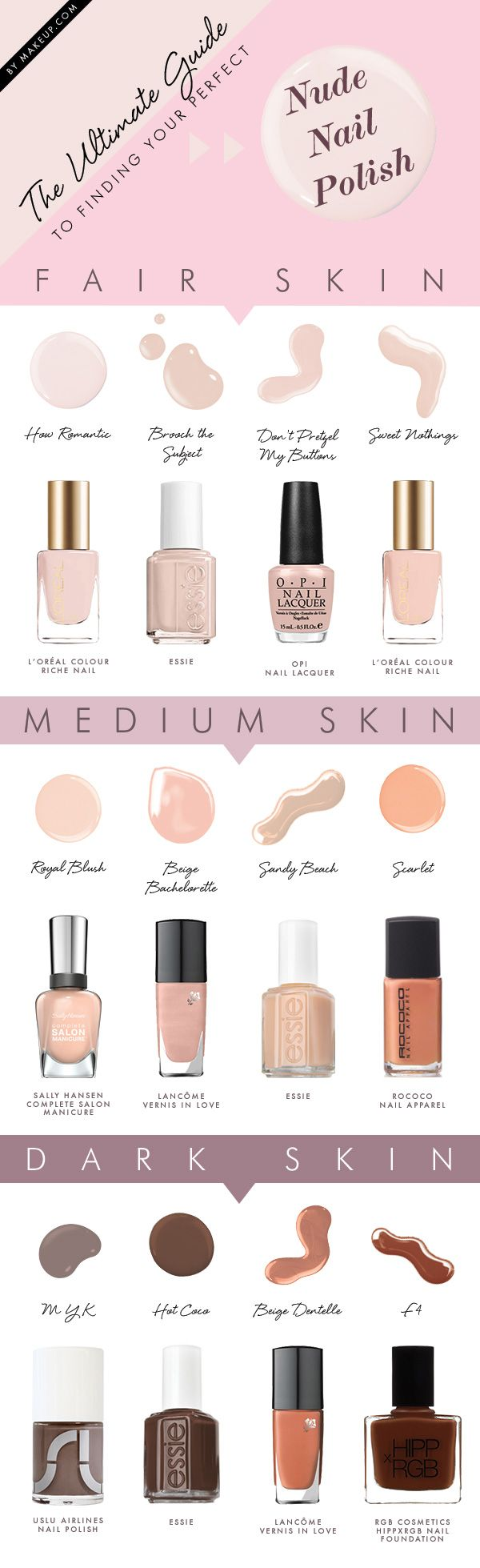 Nude manicures are all the rave and have we got the right nude nail tips for you! When the mood strikes and you're ready to ditch the colors and go back to basics, be sure that you're choosing the right nude for your skin tone. Elegnatly elongate your lady fingers with the MDC complete guide to nude nail polish!