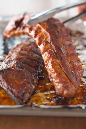 The Deen Bros Easy Grilled Baby Back Ribs  (I thought my husband was crazy when he put his in foil, but now I know he's not the only one who does it!)  The rub is a little bit different than his.....