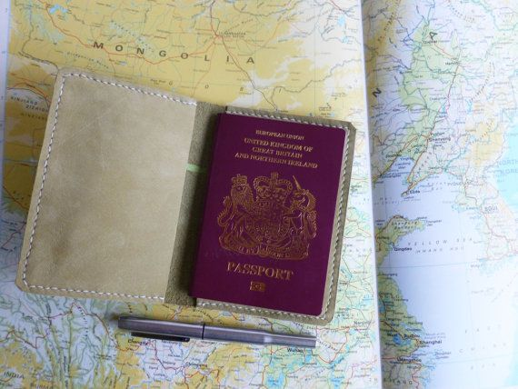 £30.50 A Passport holder made from soft duck egg green suede Ideal for your passport, or a slim pocket journal or notebook.   https://www.etsy.com/uk/listing/493540173/leather-passport-cover-or-wallet-soft?ref=shop_home_active_8 Passport holder, Passport cover, Passport wallet