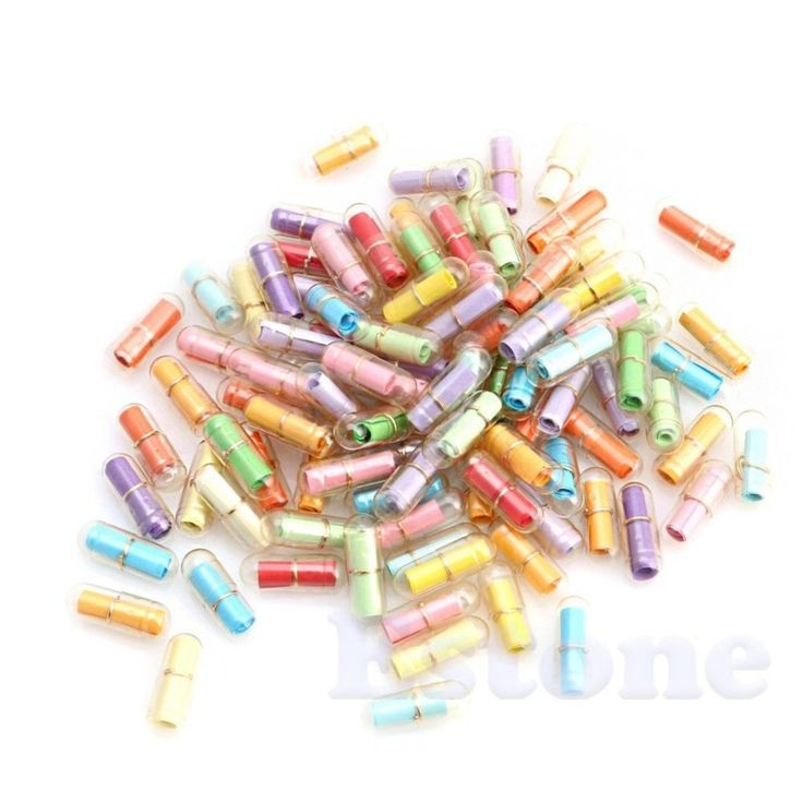 1Pack (approx.100Pcs) Cute Message in a Bottle Message Capsule Letter Love Pill Full Clear Wish Bottle With Paper Scrip Storage