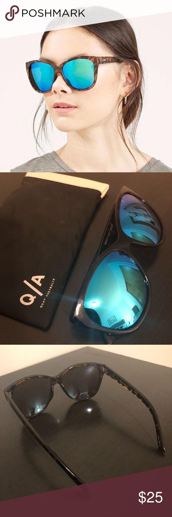 New Quay Australia sunglasses Tortoise shell frame with blue mirrored lenses Quay Australia Accessories Sunglasses