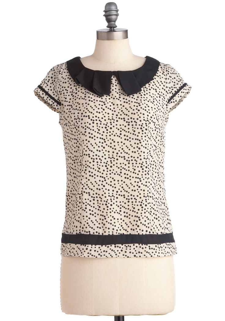 Love the button up back and the cool collar.Polka Dots, Chocolate Chips, Chocolates Chips, Modcloth Tops, Peter Pan Collars, Black White, Chips Advisor, Advisor Tops, Modcloth Com