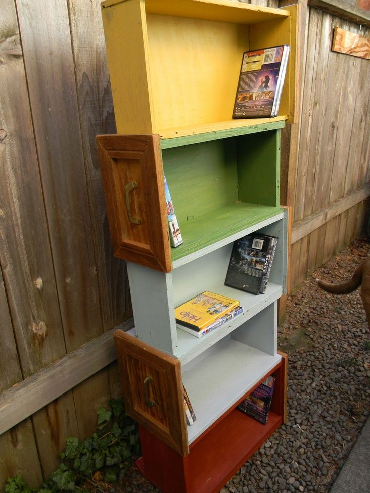 Up-cycled Furniture: Up- cycled Drawer Shelf - use my old furniture if I'm not going to use it.  Kids play room idea!!!