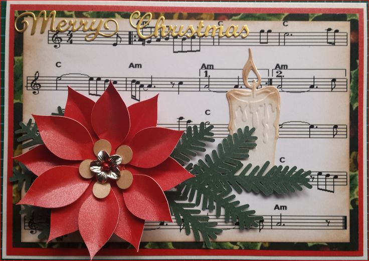 051_A5_051_A5_Poinsettia with Candle and Music background with Sentiment. Handmade by Diane Prinsloo (Lubbe).