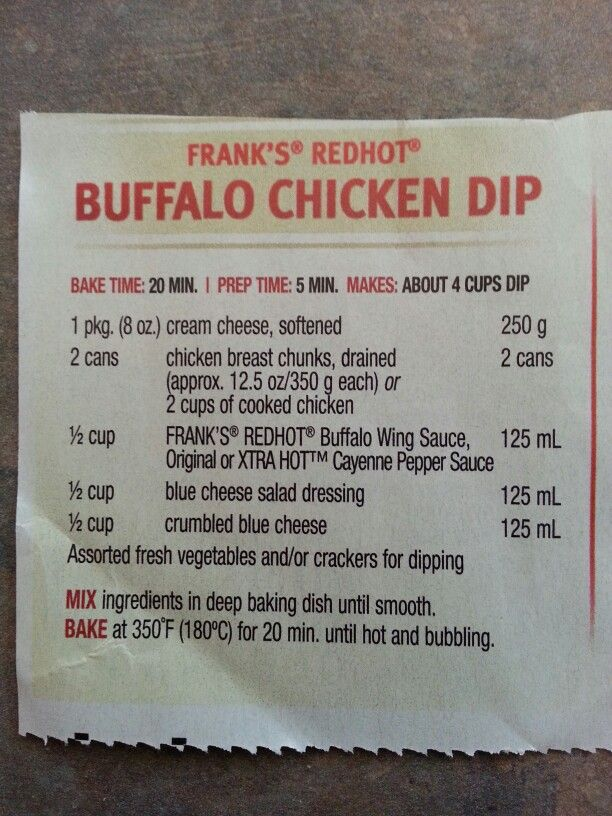 Buffalo Chicken Dip from Franks Hot Sauce I think I am making this for a party.  I'm not sure if it is the same recipe as I made before.  I'm looking for other versions of this.