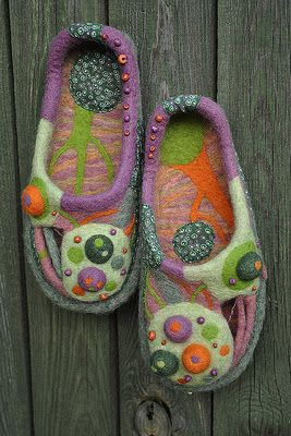 Yana Volkova /  hand-felted, beaded slippers