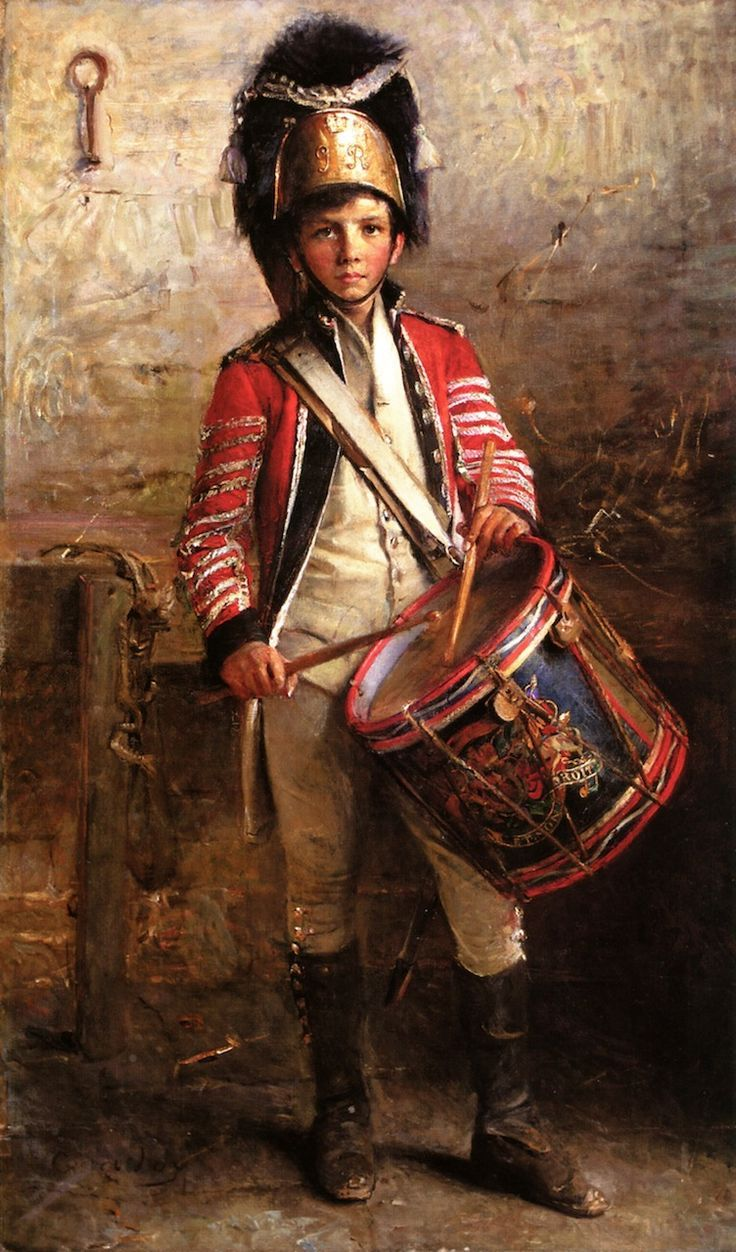 A Drummer Boy of the Royal Scotts Dragoon by George William Joy (Irish, painter 1844-1925), 1902.