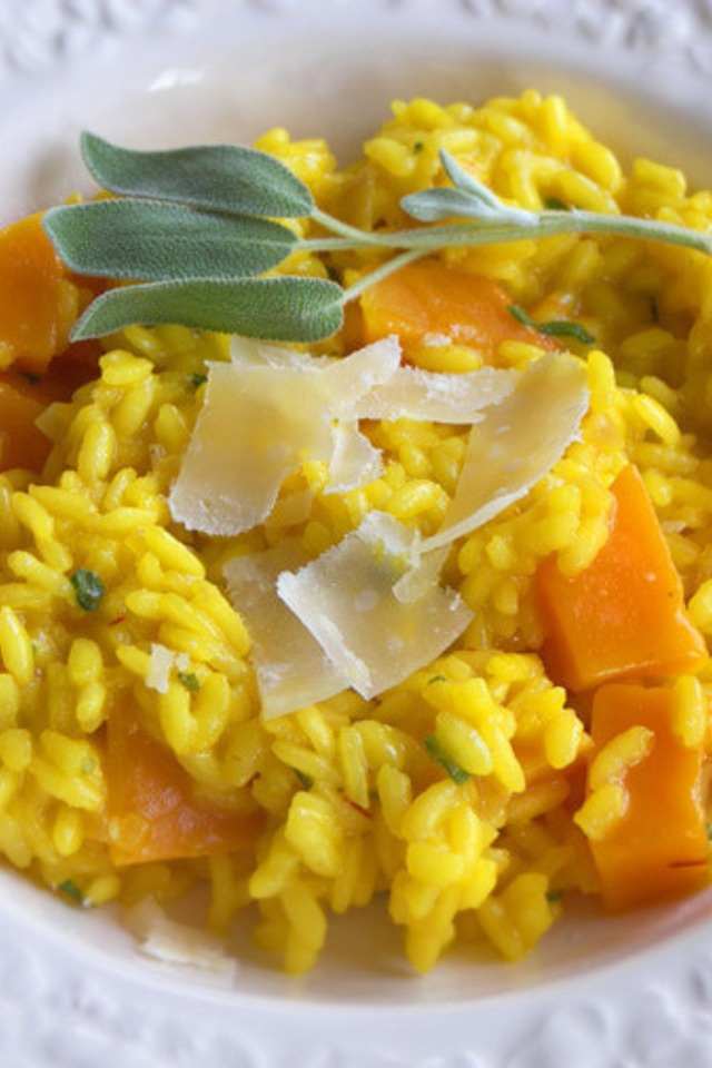 Butternut Squash Risotto with Sage and Saffron