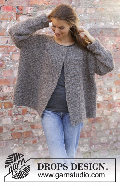 30372f341 Willow Lane Jacket - Knitted jacket in DROPS Alpaca Bouclé. Worked back and  forth in garter stitch and stripes. Size  S - XXXL Free knitted pattern  DROPS ...