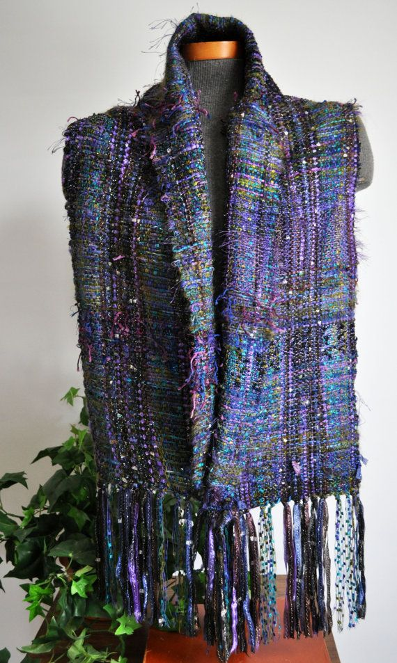 Handwoven Art Fiber Scarf Saori Style Starry by thefigleafhouse, $92.00