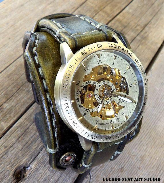 Steampunk Leather Wrist Watch Men's watch by CuckooNestArtStudio