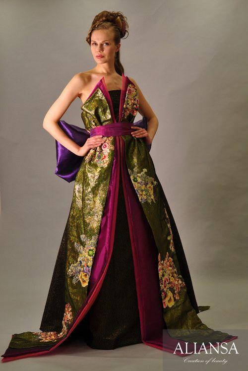 和ドレス 着物ドレス 金・紫色