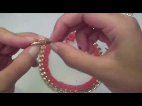 Tutorial collana catena con fettuccia intrecciata - YouTube