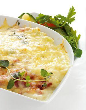 Barnas favoritt? Denne gratengen kan lages dagen i forveien og stekes med ost den dagen den skal serveres. Tilsett gjerne flere ja-grønnsaker i gratengen - det smaker kjempe godt!