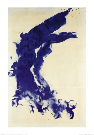 purchased / yves klein print. for a thin gold frame.