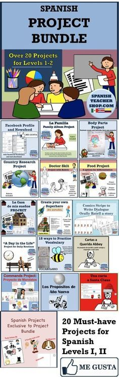 20 amazing Projects for Spanish Class for Spanish I or Spanish II. Includes most popular proyectos para la clase de español.                                                                                                                                                                                 More