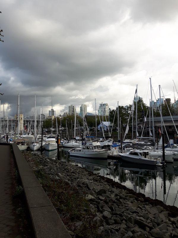 Sail boats at Granville Market.