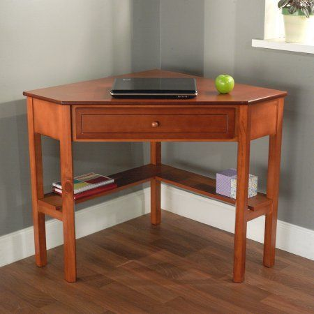 """Corner Writing Desk,Wooden corner desk constructed of wood and MDF / color Cherry. Wooden corner desk constructed of wood and MDF. 1 drawer for storage. Lower shelves are great for books or knickknacks. Dimensions: 42""""W x 28""""D x 30""""H."""