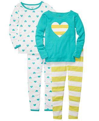 Carter's Kids Pajamas, Toddler Girls 4 Piece PJs Set