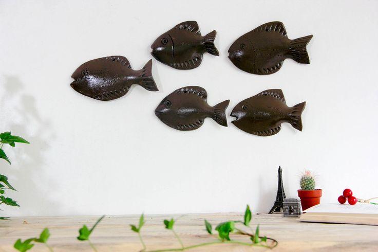 Set di 5 parete scultura scuola di arredamento pesce oceano