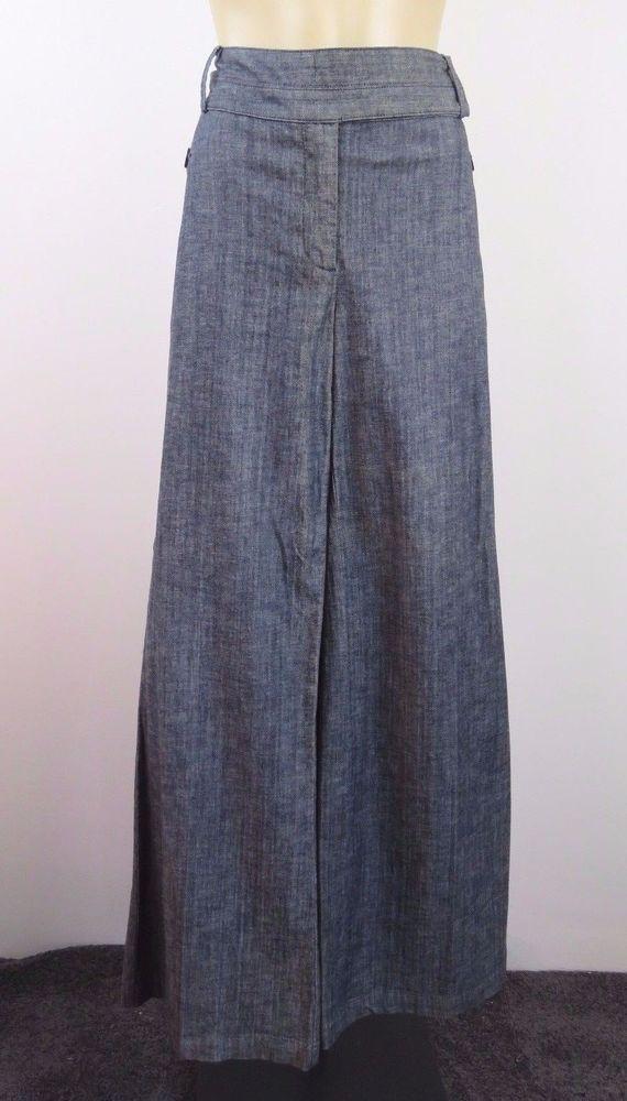 Size L 14 Ladies Grey Dress Pants Wide Leg Boho Chic Casual Business Work Design #LauraAshley #DressPants #WeartoWork