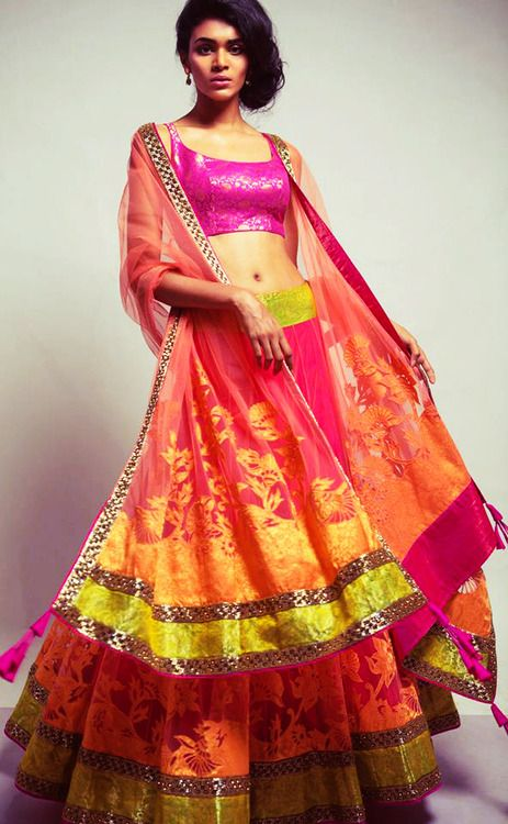 Colorful lengha by Neeta Lulla
