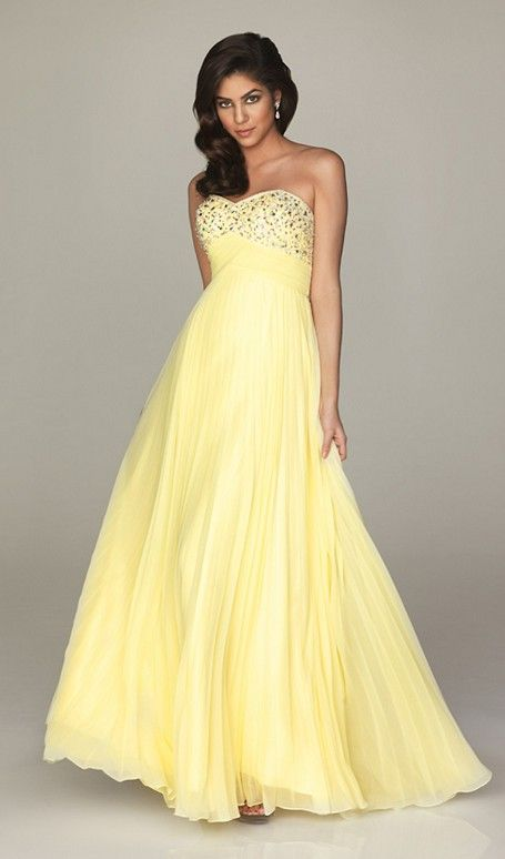Long, yellow, sparkly dress