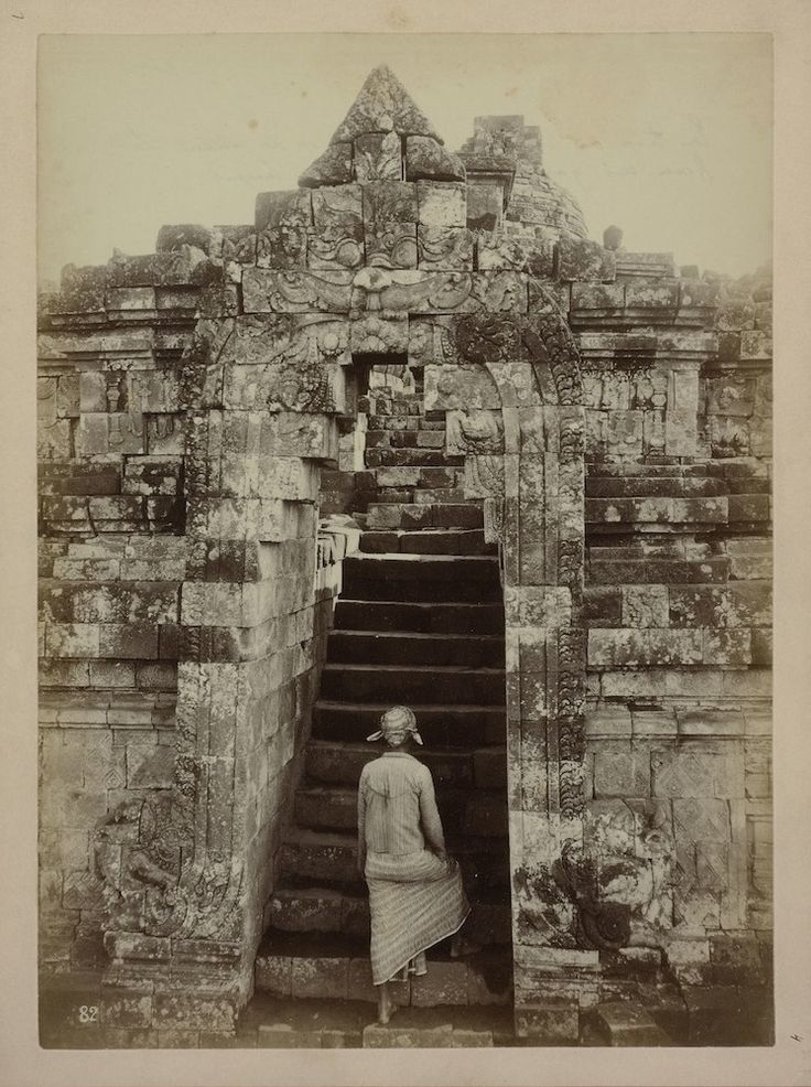 Kassian Cephas (1845-1912) Javanese at the foot of stairs in the temple complex of Borobudur in Magelang Java, 1872
